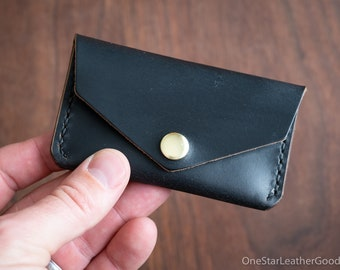 Coin pouch / wallet / business card case, Horween Chromexcel leather - black