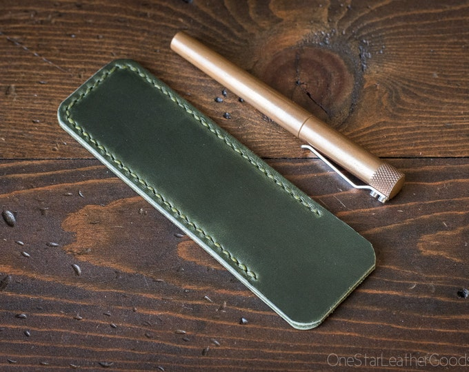 Pen Sleeve, Size Large - hand stitched Horween Chromexcel leather - forest