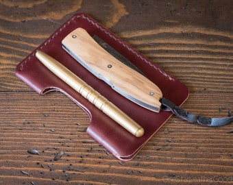 """EDC-2, every day carry pocket knife and pen case, Large size for knives up to 4.5"""" closed - burgundy"""