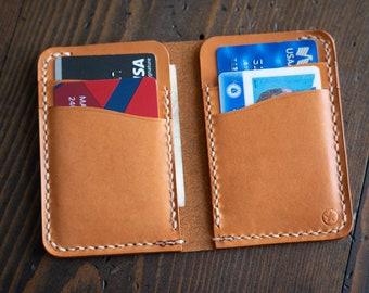 6 Pocket Vertical Leather Wallet - tan bridle leather