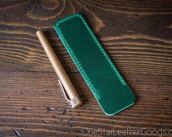 Pen Sleeve size large - hand stitched Horween leather - green