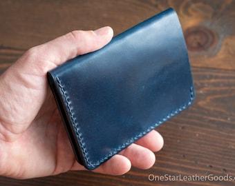 "5 Pocket Slim wallet, Horween shell cordovan - ""intense blue"" / black bridle"