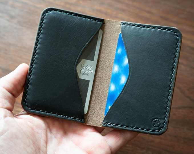 Two Pocket Card Wallet - Horween Chromexcel leather - black