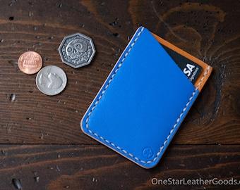 Double Minimalist: micro card wallet - blue/tan