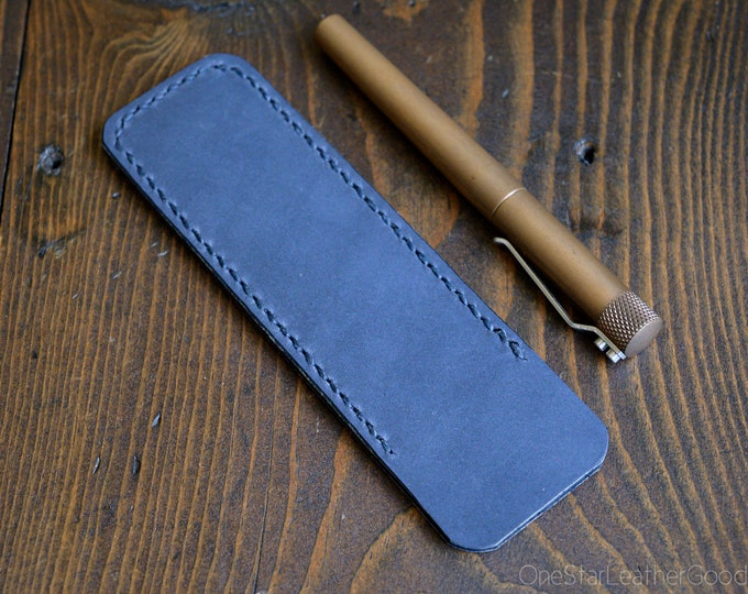 Pen Sleeve, Size Large - hand stitched Horween leather - slate blue