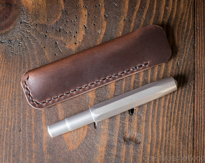Kaweco Sport pen sleeve - hand stitched Horween Chromexcel leather - brown