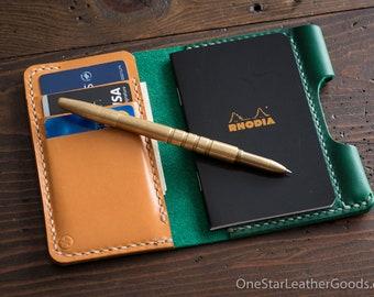 "Notebook/wallet/pen, ""Park Sloper Medium"" - Horween Chromexcel green / tan bridle leather"