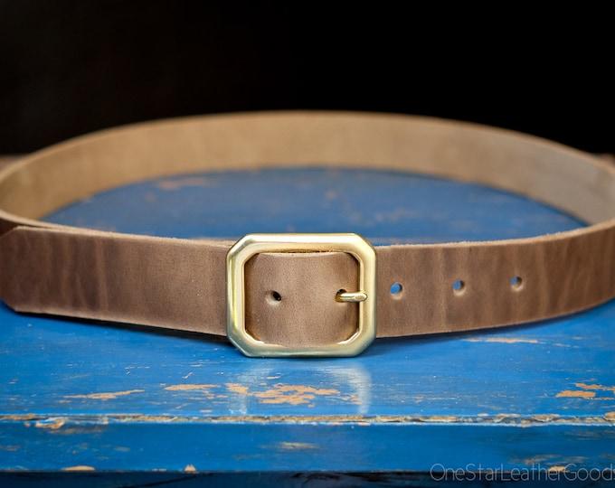 "Custom sized belt - 1.25"" width - Horween Chromexcel leather - center bar buckle - natural chromexcel"