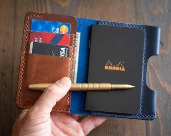 "Notebook/wallet/pen, ""Park Sloper Medium,"" Horween Chromexcel leather - blue"