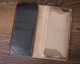 "iPhone 6+ (5.5"") cell phone wallet case - black/red"