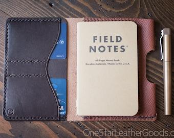 "Field Notes wallet with pen sleeve ""Park Sloper Senior"" Horween leather - crosshatch / brown"