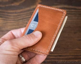 3 Pocket Card Wallet - chestnut harness leather