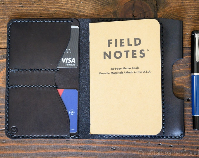 """Notebook wallet + pen sleeve """"Park Sloper Senior,"""" fits Field Notes and other notebooks - black bridle leather"""