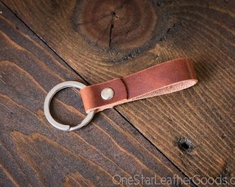 Key fob & keyring, keychain, Horween Dublin - cognac/silver