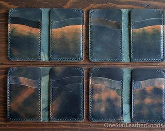 6 Pocket Vertical wallet - Horween shell cordovan - marbled black