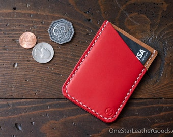 Double Minimalist: micro card wallet - red/tan