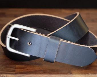 "Custom sized belt - 1.25"" width - Horween Chromexcel leather - heel bar buckle - black chromexcel"