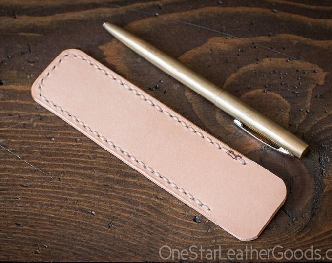 Pen Sleeve, Size Medium - natural veg undyed leather
