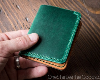 6 Pocket Horizontal wallet, Horween Chromexcel leather - bright green / tan