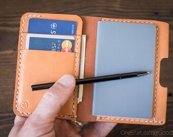 """Small notebook wallet and pen """"Park Sloper Junior""""  - tan bridle leather"""