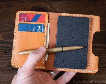 """Small Notebook Wallet and Pen """"Park Sloper Junior"""" for Fisher Space Pen Bullet - tan bridle leather"""