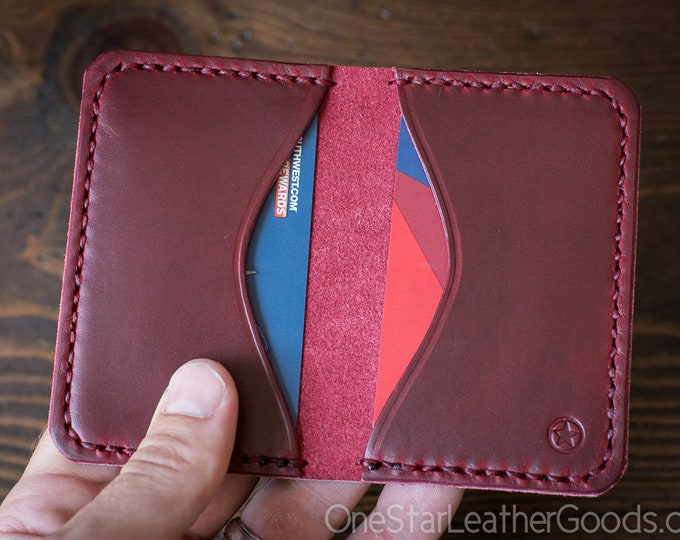 Two Pocket Card Wallet - Horween Chromexcel leather - red