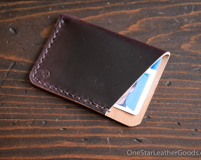 The Minimalist micro card wallet - Horween shell cordovan - burgundy