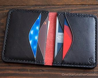 6 Pocket Horizontal Leather Wallet, Horween Chromexcel - red / black