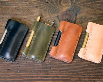 EDC-1, every day carry pocket knife and pen case, small size, for FisherSpacePen or Kaweco Liliput - black, olive, chestnut or natural