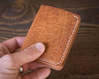 6 Pocket Horizontal Wallet - textured tan Horween / tan harness