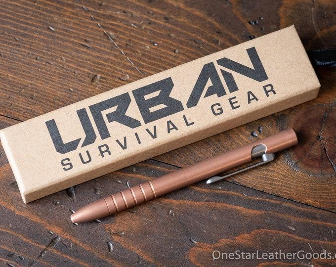 "Pen add-on - TiScribe Bolt V3 ""Full Size"" Copper EDC pen, bolt action pen, everyday carry pen - solid copper / titanium"