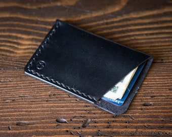 The Minimalist: micro card wallet, business card case, harness leather - black