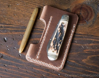 EDC-1, every day carry pocket knife and pen case, small size, for FisherSpacePen or Kaweco Liliput - Horween natural Chromexcel