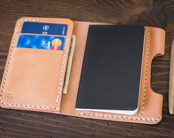 """Small notebook wallet and pen """"Park Sloper Junior"""" for Fisher Space Pen Bullet - tan harness leather (textured)"""