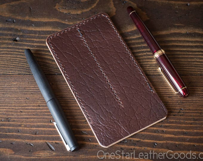 Double pen sleeve case, Horween Chromexcel leather - textured brown