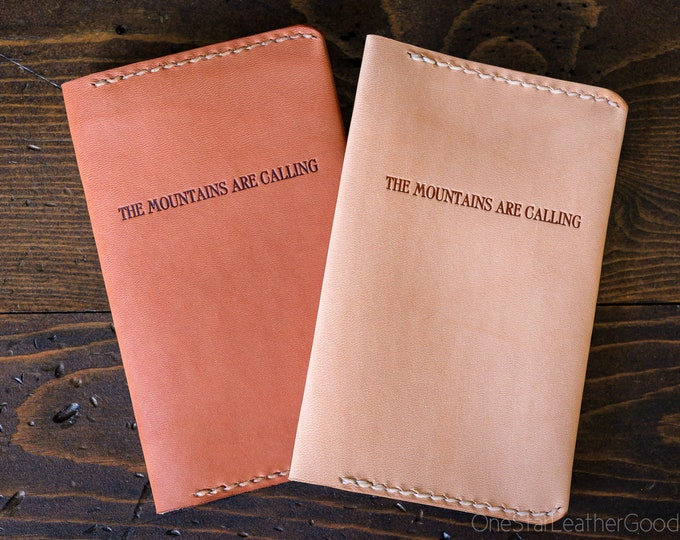 The Mountains Are Calling leather notebook cover, inspirational quote for Field Notes and other pocket notebooks - oak or chestnut