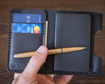 """Small notebook wallet and pen """"Park Sloper Junior"""" for Fisher Space Pen Bullet  - black bridle leather"""