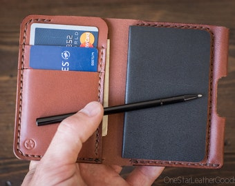 """Small notebook wallet and pen """"Park Sloper Junior""""  - medium brown bridle leather"""