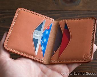 6 Pocket Horizontal Leather Wallet - chestnut skirting leather