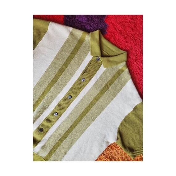 1950's Avocado Green Striped Knit Grandpa Sweater