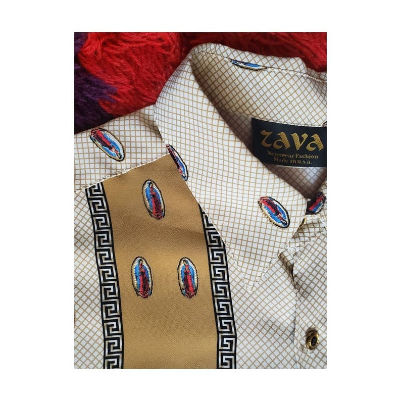 1970/'s Our Lady of Guadalupe Novelty Print Button Up Bowler Shirt by Zava