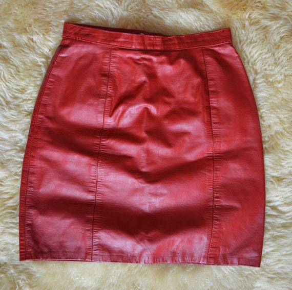 70's/80's I.O.U. Red Hot Leather Mini Skirt