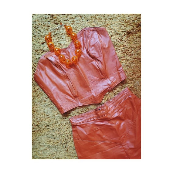 80's Pumpkin Orange Leather Two Piece Skirt Set