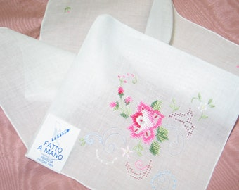 8ae9e2f5939b Antique Vintage Hanky-Venice Italy Venezia Lace Hand Embroidery-Embroidered  Lace-Bridal Wedding Handkerchief Hankie /Deadstock NOS