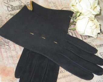 Vintage Kid Leather Gloves~ 1950s-1960s Wrist-Deadstock-Gold Piping-UNUSED-