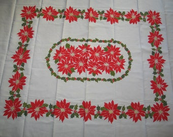 Vintage 1950s Christmas Tablecloth / 1950s Mid Century Poinsettia Flowers / Holly-Gold Metallic