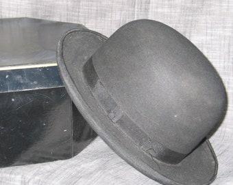 de629c36fea Antique Classic BOWLER Hat with CAVANAUGH box Vintage Hat- Black WORMSER Hat  Photo Stage Prop