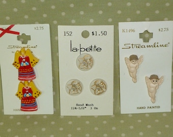 6 Steamline Gold Cupid Angel Buttons