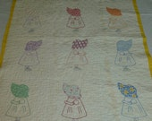 Charming Vintage Applique Baby Quilt-Sun Bonnet Sue Doll Quilt Hand Made Hand Embroidery