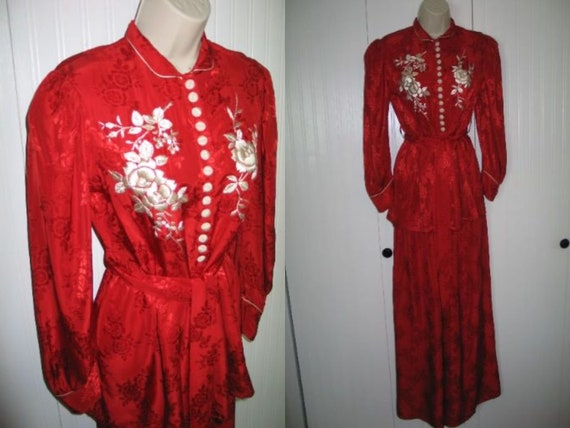 RARE 1930s Silk Embroidered Floral Lingerie Set/Be